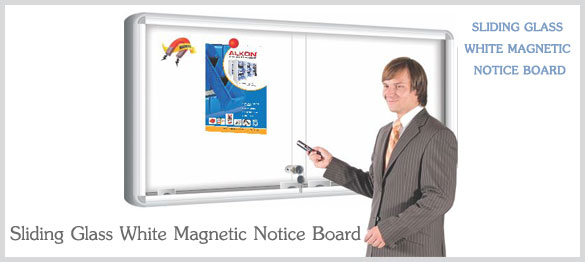 Sliding Glass White Magnetic Notice Board